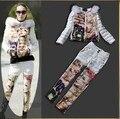 Europeus e americanos famosa marca de alta qualidade das mulheres gola de pele de inverno Hot Girl impresso rebites de algodão jaqueta + calça terno branco