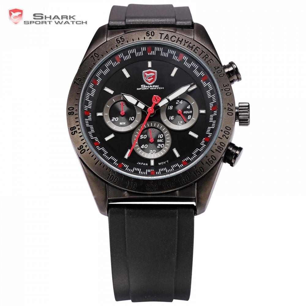 Swell Shark Sport Watch Black Bezel 24Hrs Chronograph Red Analog Rubber Strap Mens Quartz Military Male Relogio Masculino /SH271