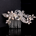 bridal hair accessories rose gold plated jewelry flower crystal accessories comb hair engagement clip cz diamond embroidery A001