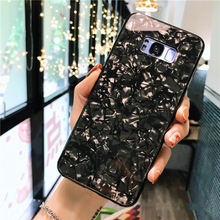 For Luxury Bling Shell Case Samsung Galaxy S9 S8 Plus Cases Tempered Glass Hard Conch Cover Note