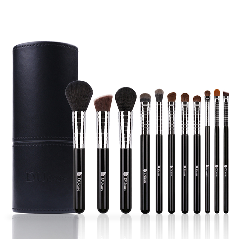 DUcare Professional Makeup Brush Set 11pcs High Quality Makeup Tools Kit with Top Leather Holder Copper Ferrule Makeup Brushes цена