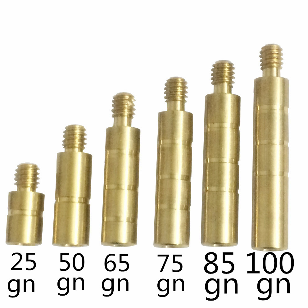 SuitableDiameter 6.2mm Arrow Shaft Weight With  Bronze 25 50 65 75 85 100gn  For Archery   Hunting Headarrows 24pcs And 36ps