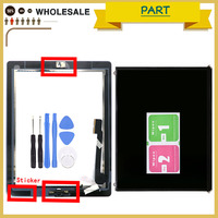 LCD Touch Panel For IPad 2 / 3 / 4 Display Touch Screen Digitizer Front Glass with Home Button Sticker Adhesive Camera Holder