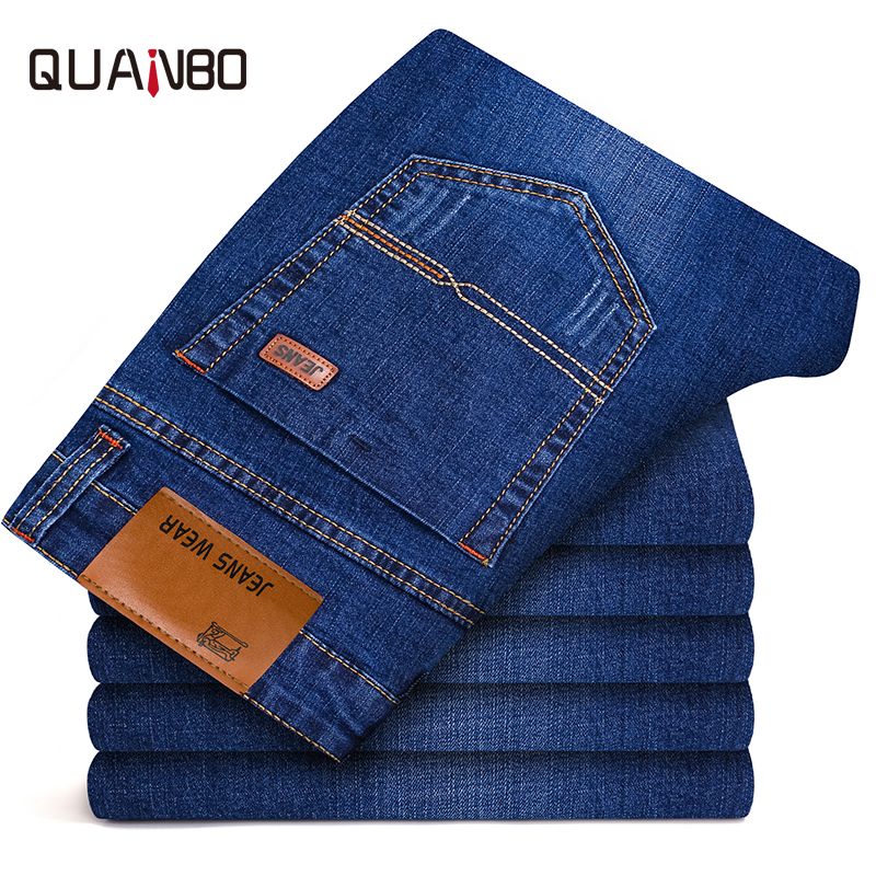 QUANBO Men's Jeans 2018 New Business Casual High Quality Blue Jeans Straight Slim Fit Long Trousers Stretch Denim Pants 40