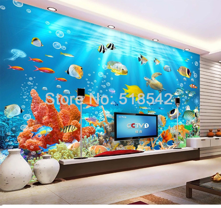 HTB1NjO4PVXXXXbAXpXXq6xXFXXX6 - Custom Photo Mural Non-woven Embossed Wallpaper Underwater World Fish Coral Children Room Living Room Wall Decoration Wallpaper