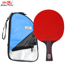 Hot Double Fish Red&Black Carbon Fiber Table Tennis Racket FL Handle Pingpong Paddle ITTF Approved Rubber with Cover Bag Case