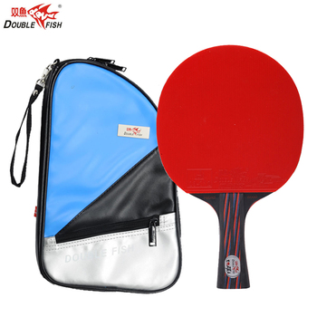 цена на Hot Double Fish Red&Black Carbon Fiber Table Tennis Racket FL Handle Pingpong Paddle ITTF Approved Rubber with Cover Bag Case