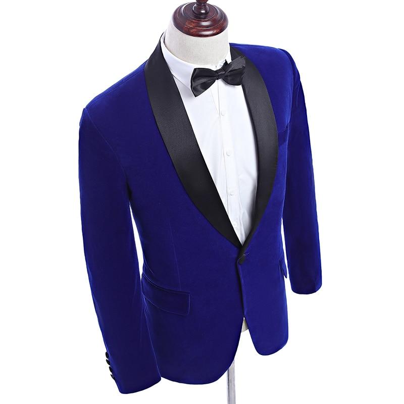 2019 New Arrival Shawl Lapel Royal Blue Velvet Wedding Groom Suit Jacket Leisure Blazer Slim Fit Ropa De Hombre Men Blazers in Blazers from Men 39 s Clothing
