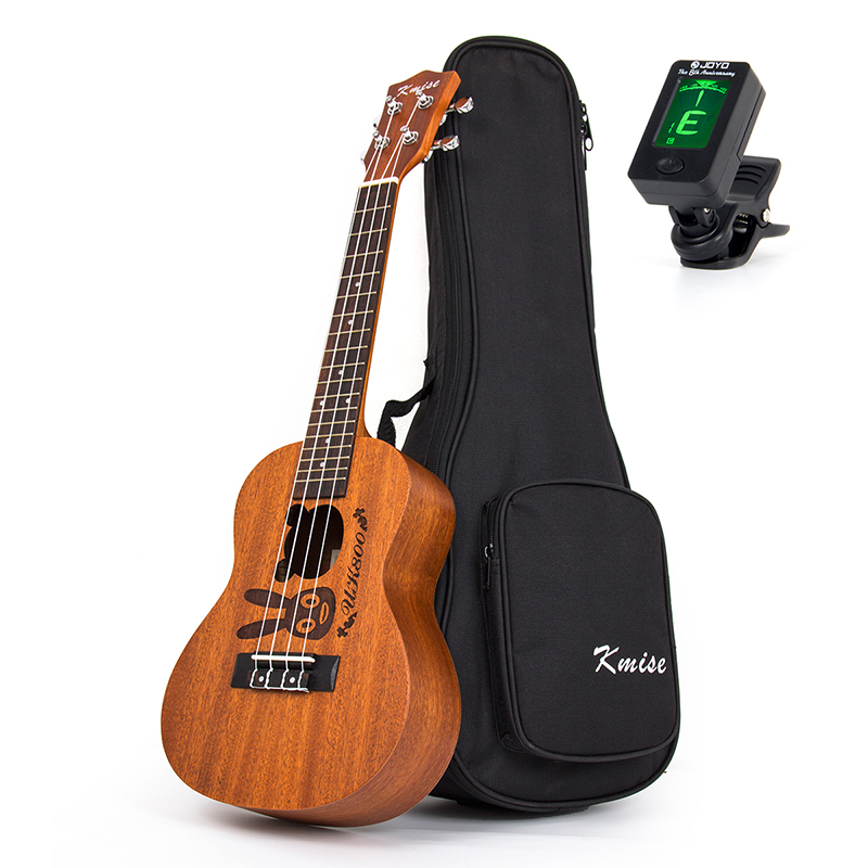 Kmise Concert Ukulele Mahogany Ukelele Uke 23 inch 18 Fret 4 String Acoustic Hawaii Guitar with Gig Bag Tuner kmise soprano ukulele mahogany ukelele uke 21 inch with gig bag tuner strap string capo sand shaker cleaning cloth beginner kit