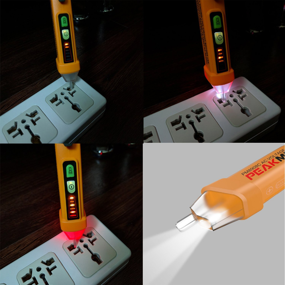 PM8908C 50-60Hz AC 12-1000V Non Contact Voltage Tester Pen Circuit Detector Electrical Tool-3