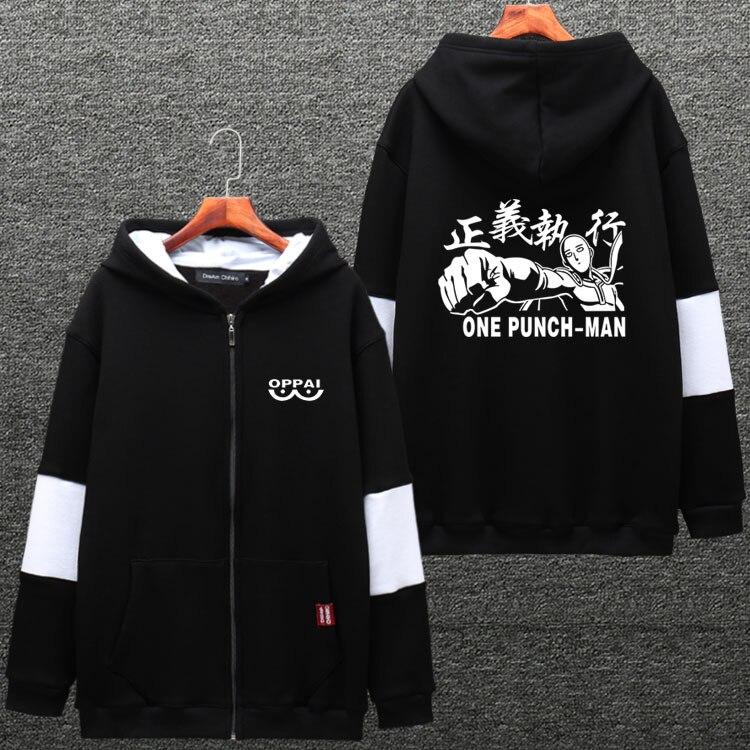 Men's Hoodie Anime ONE PUNCH MAN Saitama Cosplay Hooded Sweatshirts Patchwork Long Sleeve Hoody Jacket Fall Winter Coat 2018 NEW