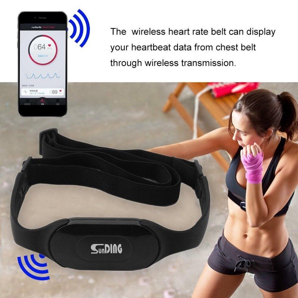 Impermeable Bluetooth 4,0 Wireless Monitor inalámbrico del ritmo cinturón deportes realizar calorías y grasa cálculo negro