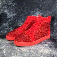 Красные туфли с заклепками; обувь из натуральной кожи с шипами и шипами; высокие лоферы с заклепками; мужская повседневная обувь; обувь на шн