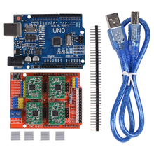 CNC Shield Expansion Board V3.0+UNO R3 Board with usb for Arduino+4pcs Stepper Motor Driver A4988 With Heatsink Kits for Arduino