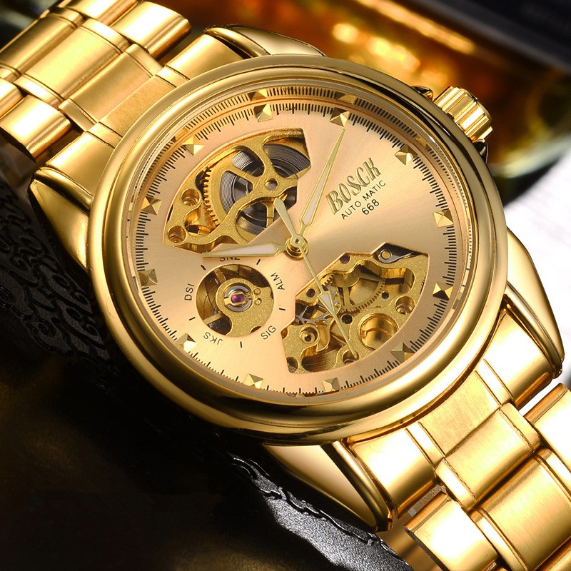 BOSCK Automatic Mechanical Wrist Watch Men Self-winding Skeleton Watches Top Brand Luxury Gold Watch Clock erkek kol saati 1