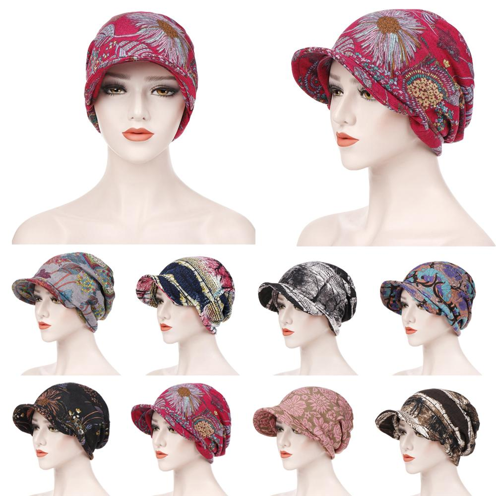 Fashion Muslim Women Print Cotton Hat Beanies Hijab Hair Loss Chemo Headscarf Wraps Visor Thick Cap Berets Turban Headwear