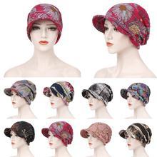 แฟชั่นผู้หญิงมุสลิมพิมพ์ผ้าฝ้ายหมวก Hijab ผมร่วง Chemo Headscarf Wraps Visor หนาหมวก Berets Turban Headwear
