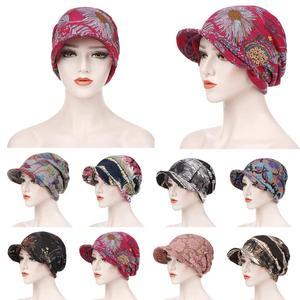 Image 1 - Moda müslüman kadınlar baskı pamuk şapka kasketleri başörtüsü saç dökülmesi kemo başörtüsü sarar Visor kalın kap bere türban şapkalar