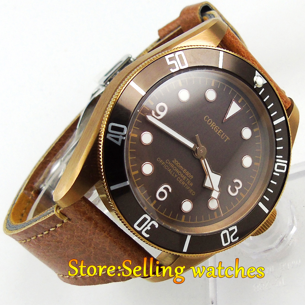 41mm corgeut coffee sterile dial PVD Sapphire Glass miyota automatic mens Watch 41mm corgeut black dial sapphire glass miyota automatic movement mens watch c03