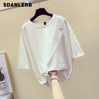 New Korean Tshirt Woman 2019 Summer Loose fitting Short Sleeve T shirt Lady's Fashion Stripe Colour clashing Personality Shirt
