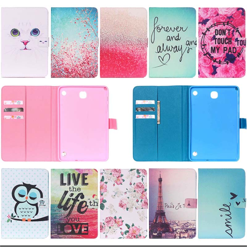 Fashion Painted Stand Function PU Leather case Cover For samsung GALAXY Tab A 8.0 SM-T350 T351 T355 tablet with card slot Y3D25D
