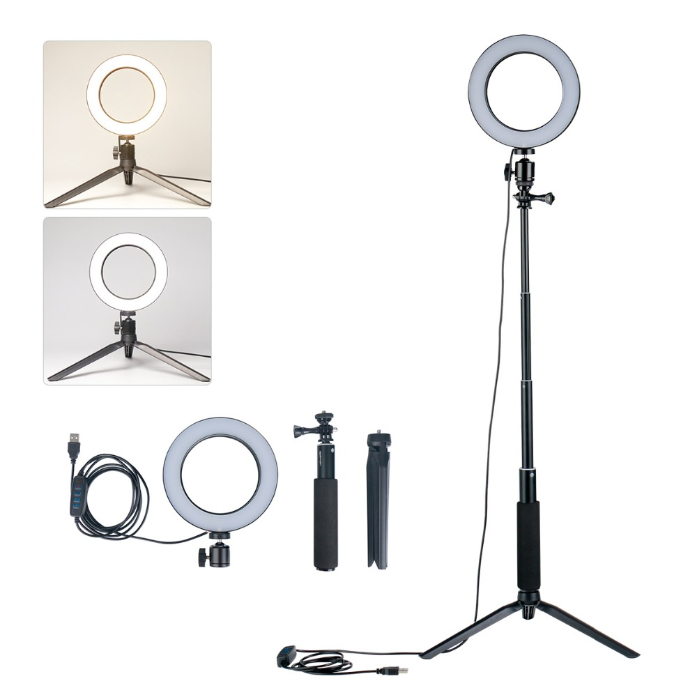 1.5M Selfie Ring LED Camera Photo Video Light Photography Studio Fill Light w Light Stand Tripod for iPhone Samsung Live Stream