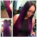 Длинные шелковистые прямые кружева перед парики/1b/фиолетовый человеческих волос полный парик шнурка/ломбер у части парик бразильский девственные волосы для чернокожих женщин