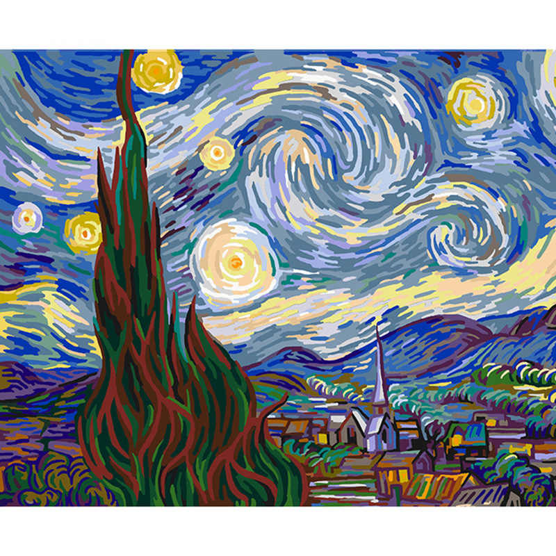 Painting By Numbers Abstract Van Gogh Starry Sky Painting By Numbers for Children Acrylic Posters and Prints Home Deco 50x40cm