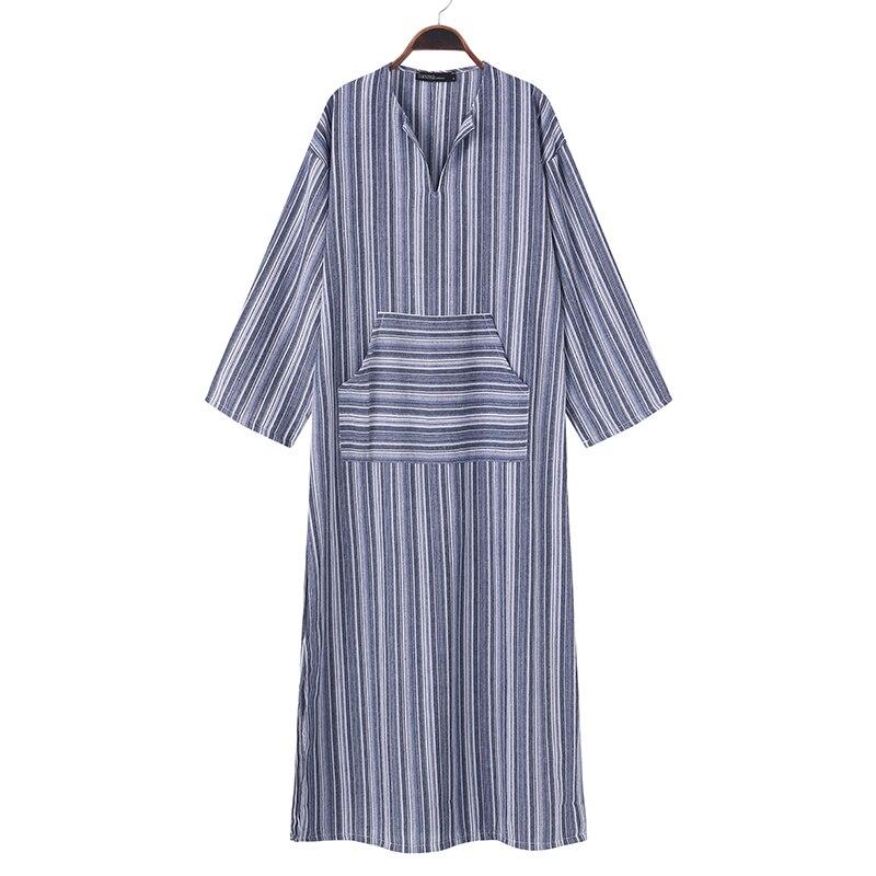 2018 Autumn ZANZEA Women Striped Dress Sexy V Neck Long Sleeve Maxi Long Dresses Vintage Casual Loose Plus Size Vestidos 4