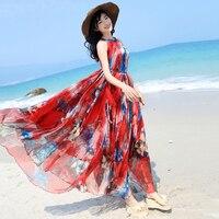 Floral Chiffon Spaghetti strap one piece-vestido 2017 chiffon fantasia vestido cheio bohemia holiday beach maxi dress