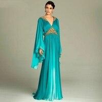 Плюс размер, синее элегантное женское вечернее платье для выпускного, украшенное бисером, золотыми стразами, с длинными рукавами, вечерние