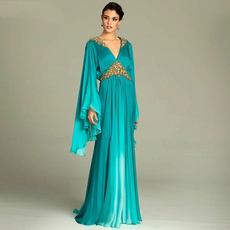 Plus size Blue Dubai Arabic Kaftan Prom Dresses beaded gold crystal sequin  long sleeves evening dresses formal party gown