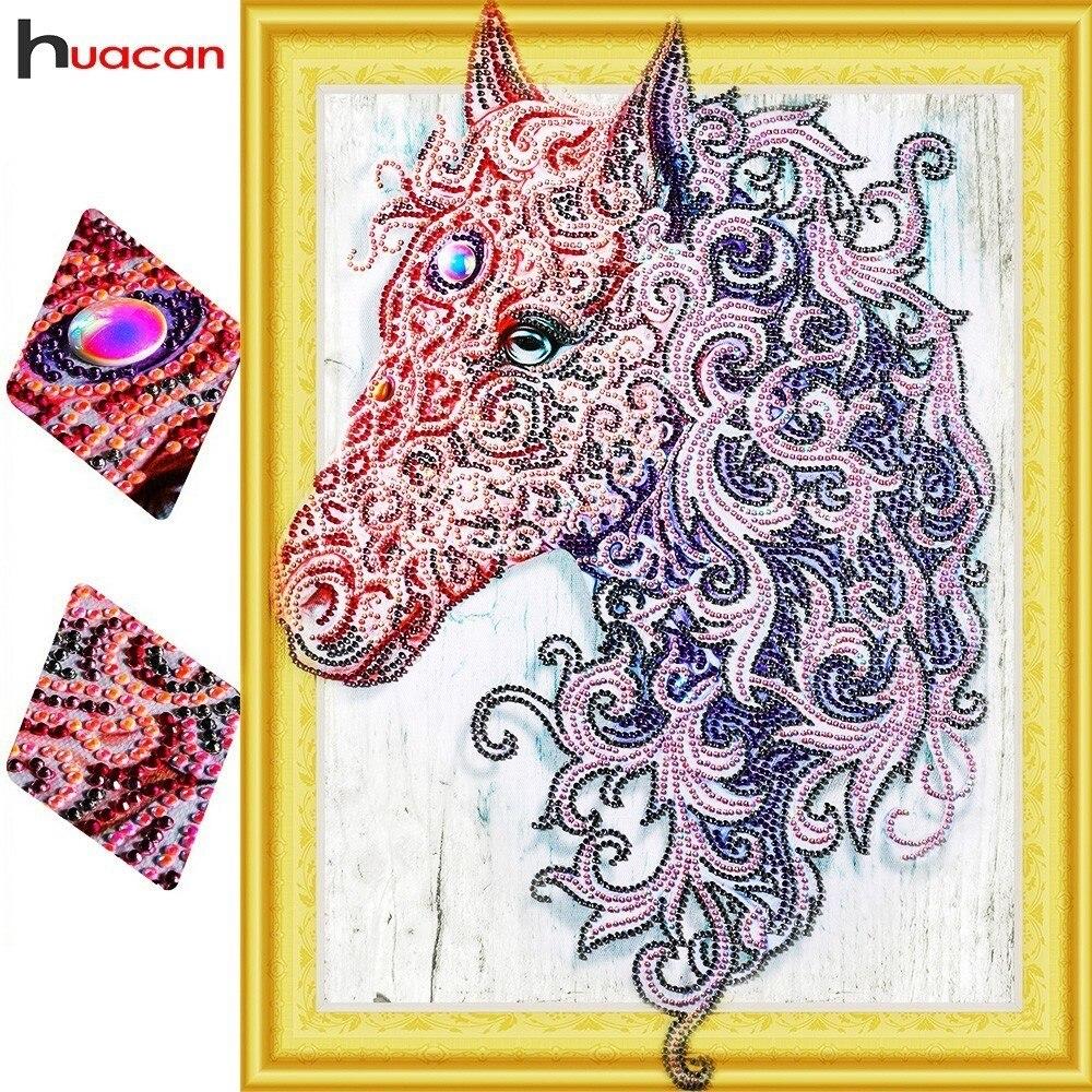 HUACAN Speciale Forma di Diamante Del Ricamo Animale FAI DA TE Pittura Diamante Croce a Cavallo del punto Immagine Di Strass 40x50 cm