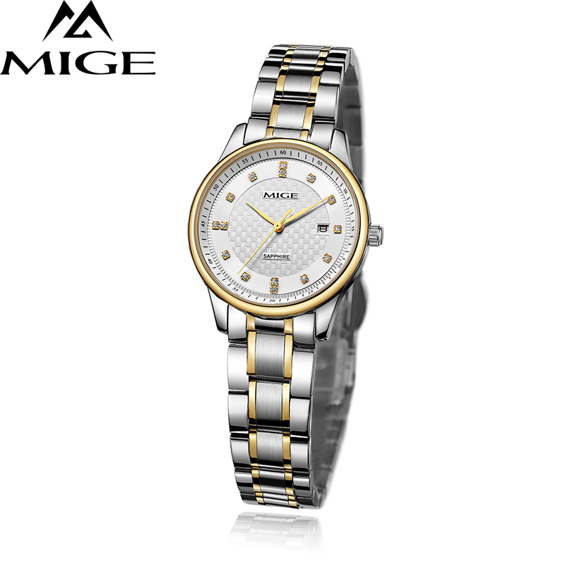 Mige 2017 New Top Brand Lover Watch Casual Saphire Steel Watchband White Black Female Clock Waterproof Quartz Women Watches mige 2017 new hot sale lover man watch rose gold case white casual ultrathin waterproof relogio masculino quartz mans watches