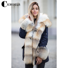CKMORLS New Real Fur Parka For Women Jacket With Natural Collar Fashion Outwear Thick Warm Coats Harajuku Jackets