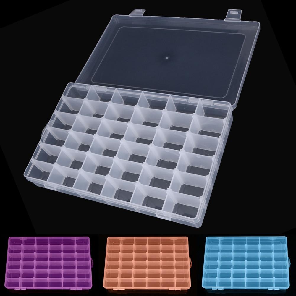 Ajustable 36 compartimiento Caja de almacenamiento de plástico Joyero Pendiente Caso Caja de almacenamiento Colorido Grano Anillos Joyería Exhibidor Organizador