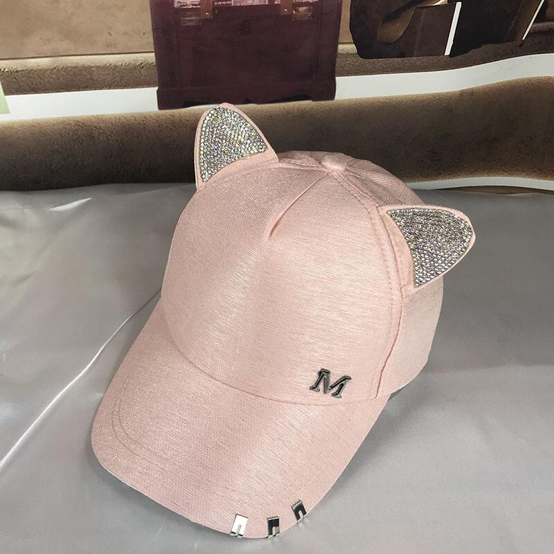 Meow Womens Summer Fall Pink hat Cat Ears Cat Baseball Cap with Rings and lace Diamond Cute Girl hat