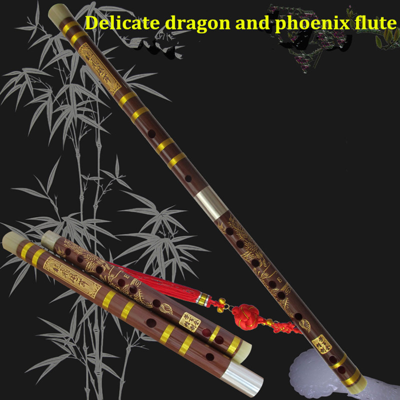 Bamboo Flute Musical Instrument with Dragon Jade C D E F G Key Flauta profissional Chinese Dizi hot selling gift wholesale 17 e key trepanned dual flute musical instrument