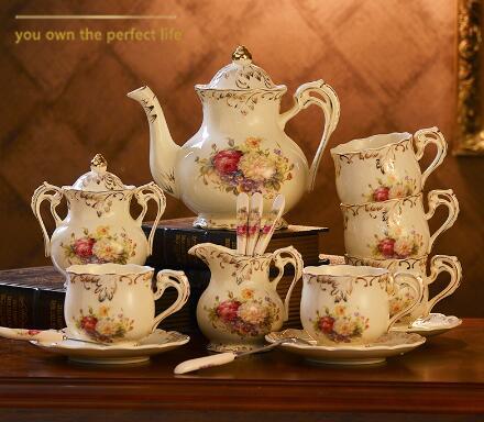 15 pièces Yolife britannique Royal en céramique ivoire porcelaine café ensembles thé tasse plateau en céramique théière Pot cruche bouilloire haut thé Service