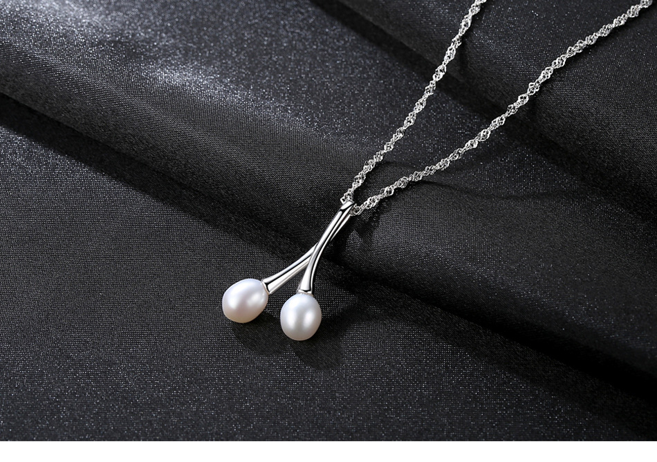 Sterling Silver Jewelry Fashion Natural Pearl Necklace Pearl Pendant S925 Silver Necklace SLC01 купить недорого в Москве