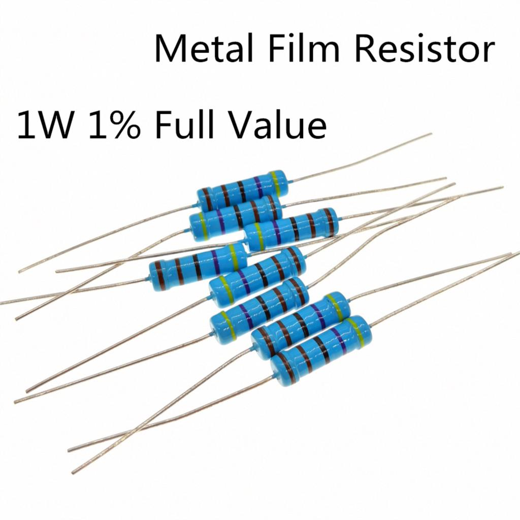 30~100Pieces/lot 1W <font><b>1Mohm</b></font> 1% Radial DIP Metal Film Axial <font><b>Resistors</b></font> 1M ohm 1W image