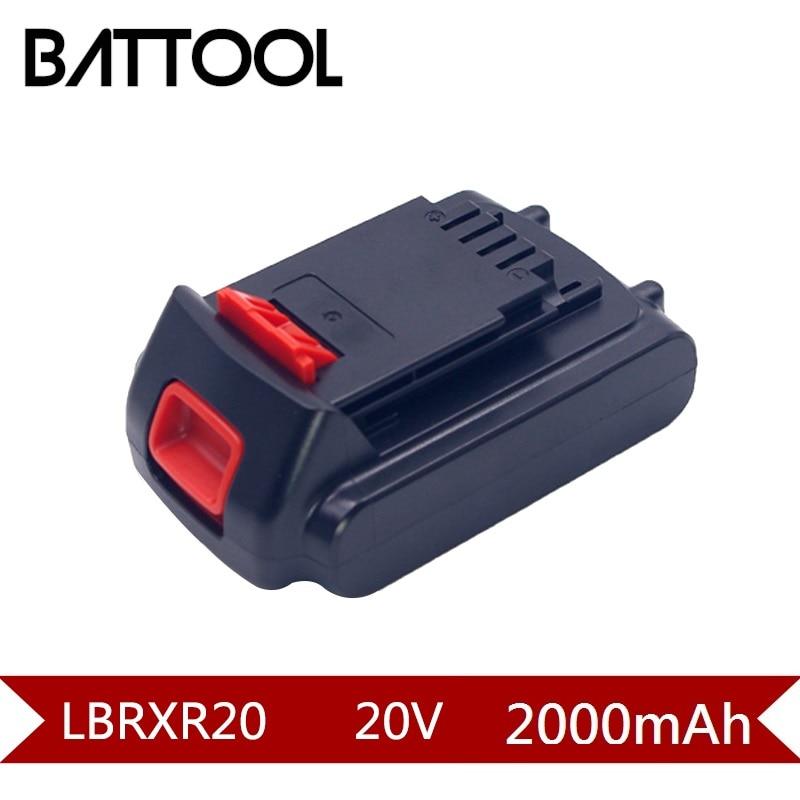 1X 20V 2000mAh Li-ion LBXR20 Rechargeable battery For Black&Decker LB20 LBX20 LST220 LSW20 SSL20SB SSL20SB-2 ASL186K ASL188K rechargeable 2000mah backup battery case for blackberry 8520 9300 black actual 1400mah