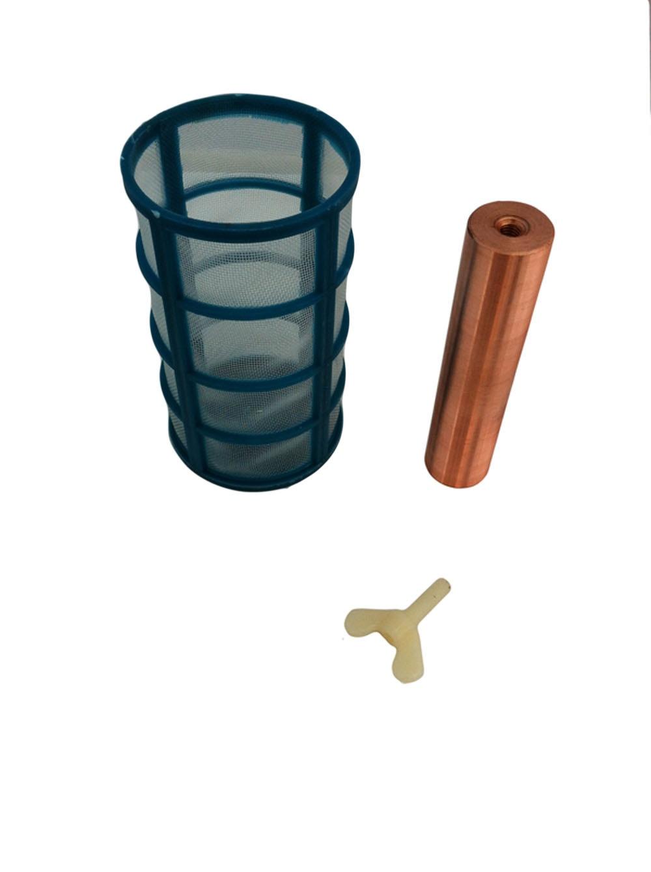 electrode anode chlorine-free copper anode replacement for solar pool purifier use + paper test stripe + net guard +brush solar pool algae bacterial viruses killer