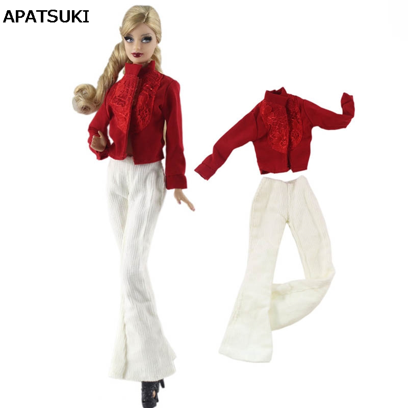 Fashion Doll Clothes Red Shirt & White Pants Trousers For Barbie Doll Handmade Clothes For Barbie Dollhouse 1/6 Doll Accessories