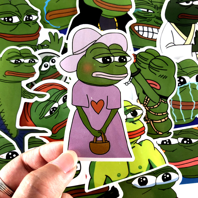 17 Pcs/set Cartoon Sad Pepe Frog Anime PVC Waterproof Stickers Kids Toys Decor Suitcase Notebook Bicycle Car Guitar Skateboard