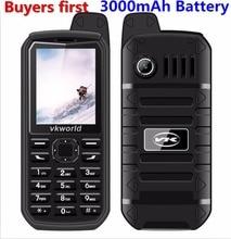 Vkworld Pierre V3 Plus 3000 mAh Mobile Téléphone 2.4 pouce IP54 antipoussière Téléphone Portable Double Sim GSM FM Radio peut ajouter Russe clavier