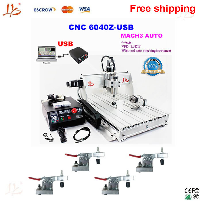 stone CNC milling machine 4 axis CNC router 6040, with 1.5KW spindle USB port, cnc 3d engraver for wood,No tax to EU!  metal russia tax free 3d woodworking cnc router cnc 6040 4 axis cnc milling machine with spindle 500w
