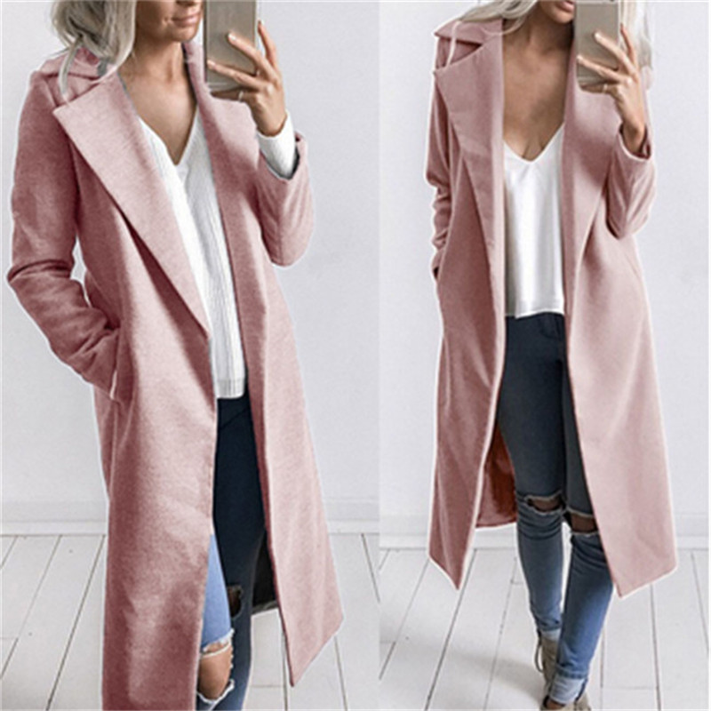 Plus Size Women Winter Warm Coat Lapel Slim Long Sleeved Jacket Trench Tops US