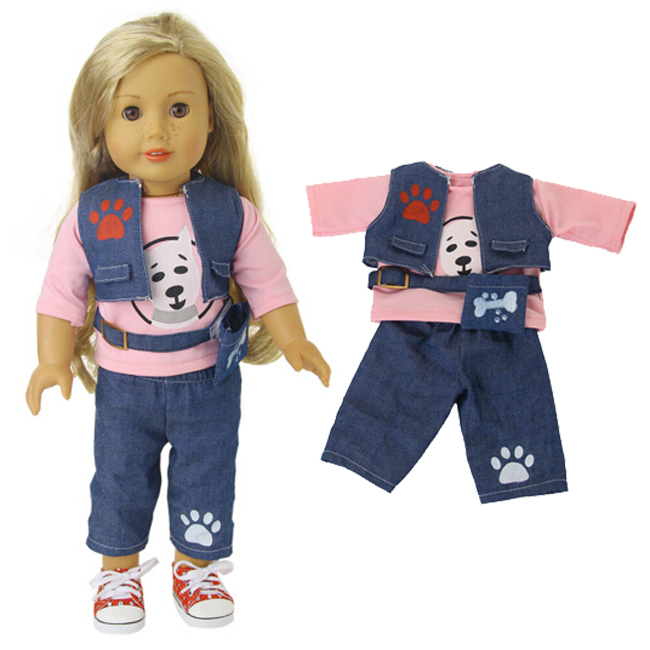 18 inch American girl doll clothes shirt pants set also fit for 43cm new born baby dolls american girl doll clothes for 18 inch dolls beautiful toy dresses outfit set fashion dolls clothes doll accessories