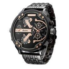 2d690606d0c Homens Dual-movt Oulm Big Dial Japão Quartz Militar Relógios Homens de Luxo  relógios de Pulso Cinta de Aço Inoxidável Relógio de.